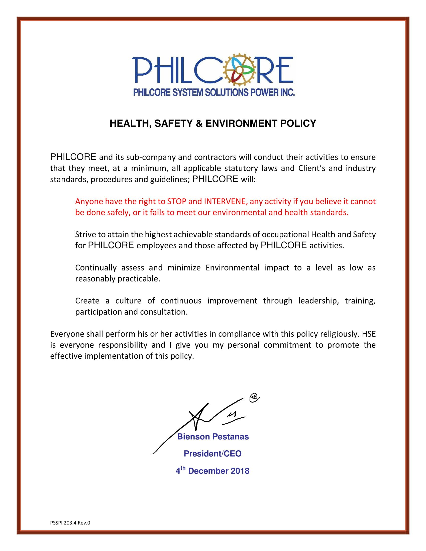 Health Safety Environment Policy Philcore